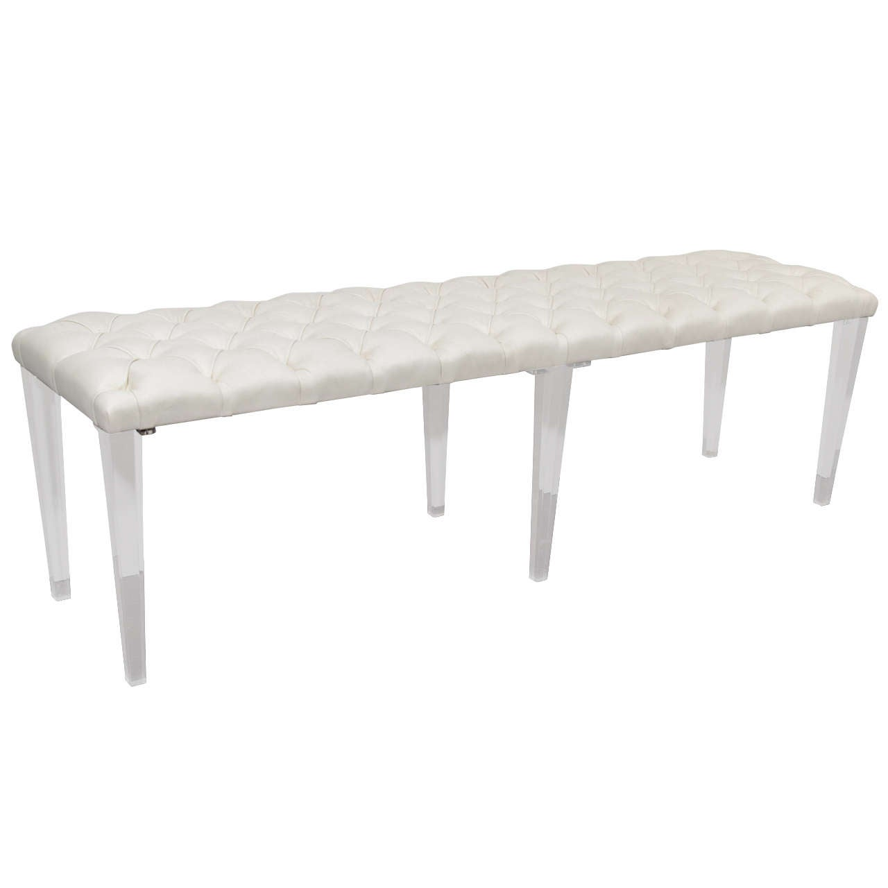 Custom Tufted Leather With Lucite Leg Bench For Sale At 1stdibs