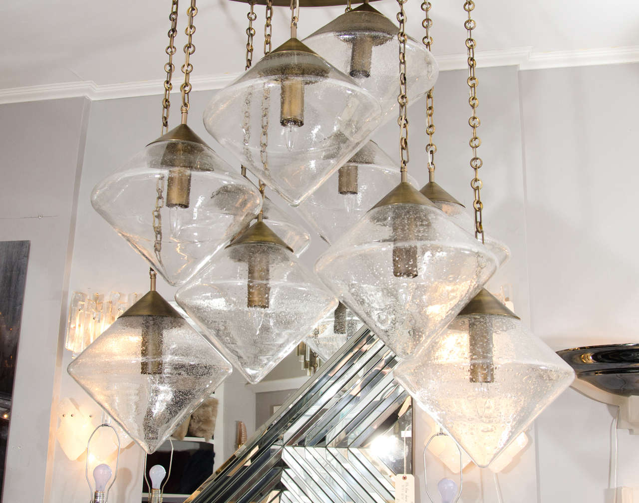 Contemporary Custom Prism Globe Chandelier with Antique Brass Finish For Sale