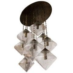 Custom Prism Globe Chandelier with Antique Brass Finish