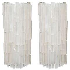 Pair of Custom Lucite Block Sconces