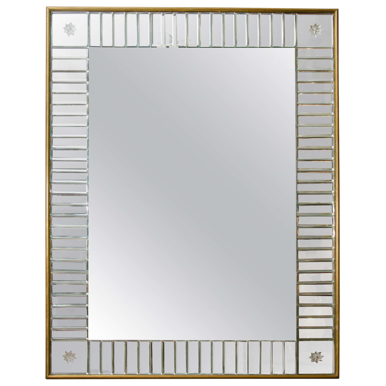 Custom Clear Mirror in Mirror Baguettes and Gold Leaf Frame