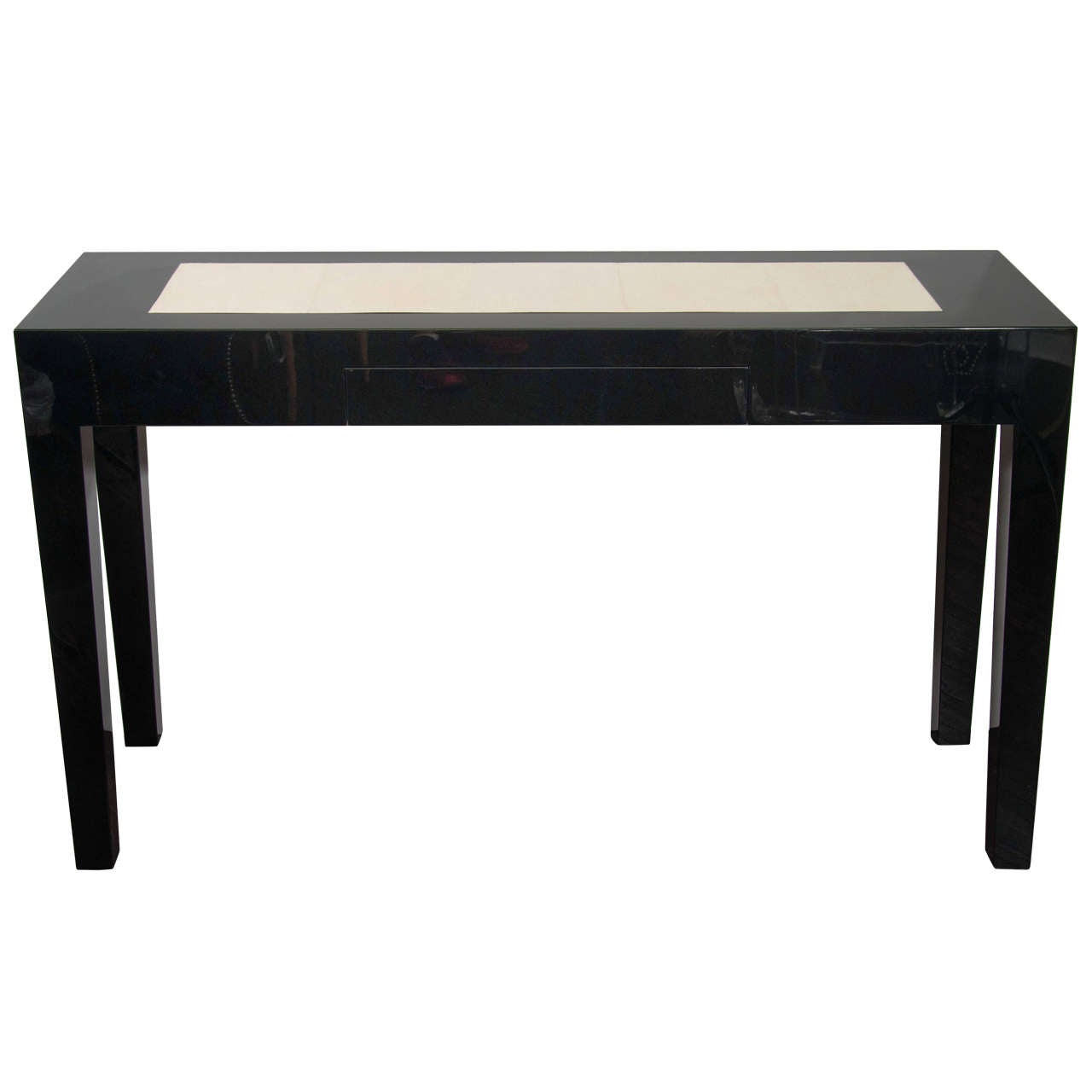 Custom Black Lacquer Console Table With Shagreen Insert At