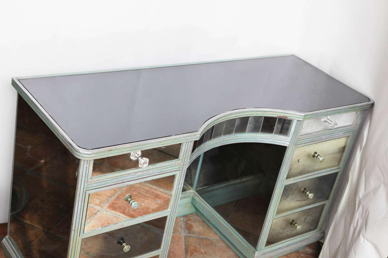 Vintage Silver Mirrored Kneehole Desk Or Vanity At 1stdibs