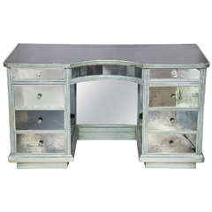 Vintage Silver Mirrored Kneehole Desk or Vanity