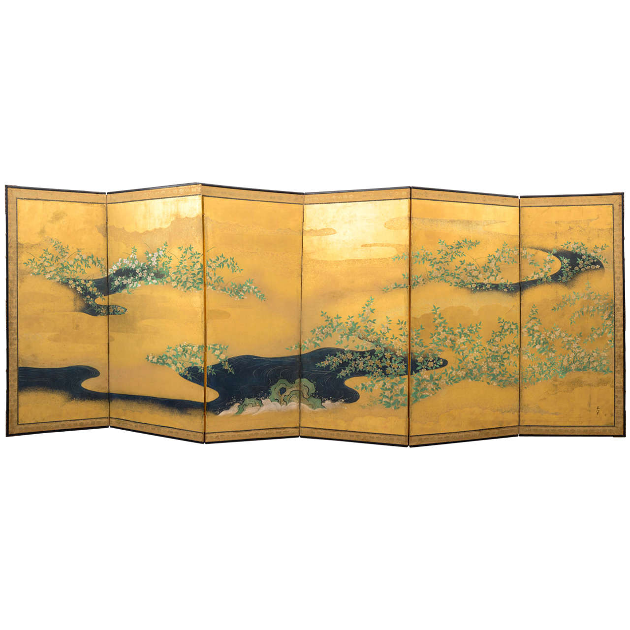 Antique japanese screens for sale - Edo Six Panel Japanese Screen