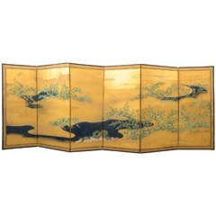 Edo Six-Panel Japanese Screen