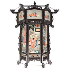 19th Century Chinese Lantern  in Carved Ebonized Dark and Glass Panels
