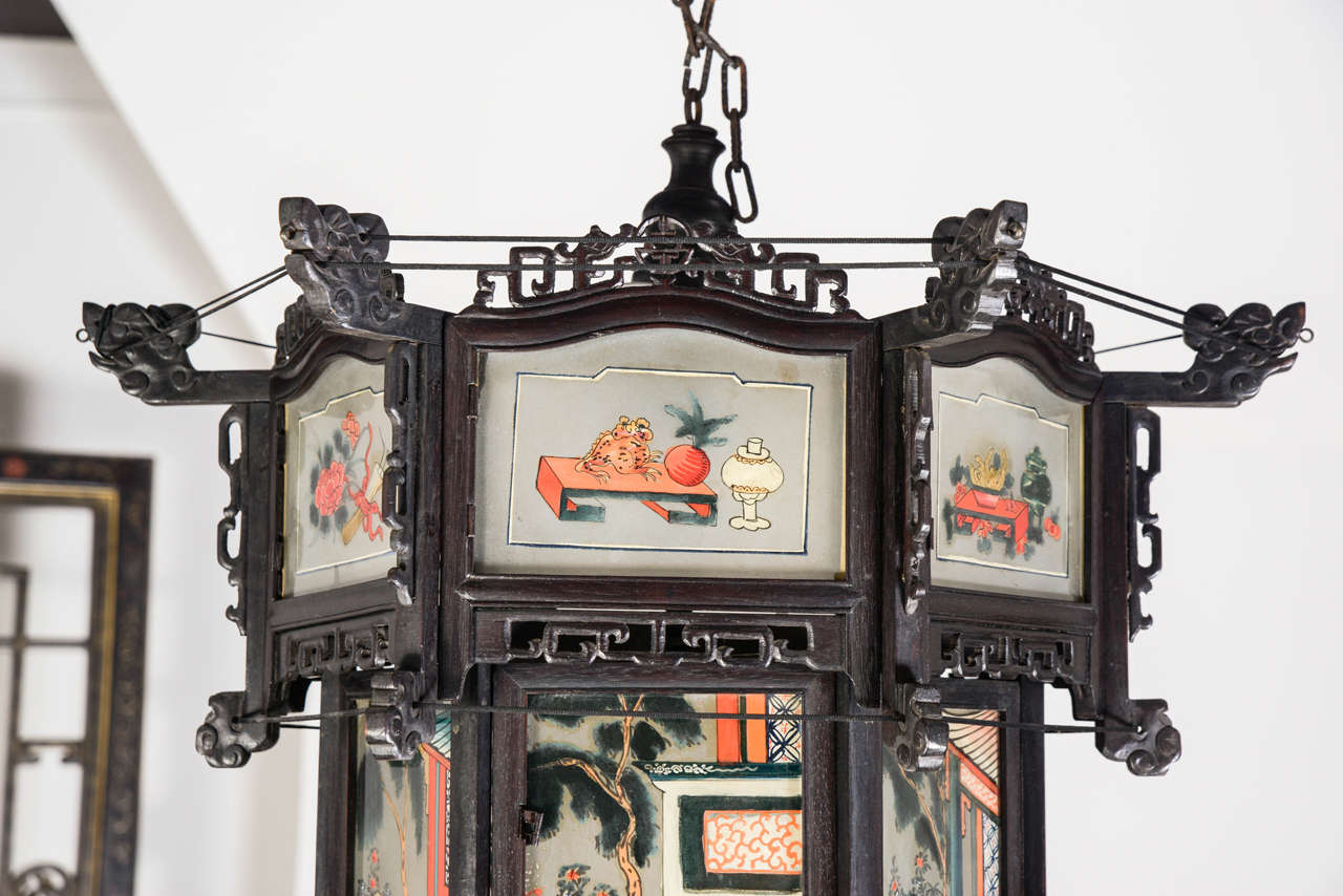 Th Century Chinese Rosewood Painted Glass Lantern