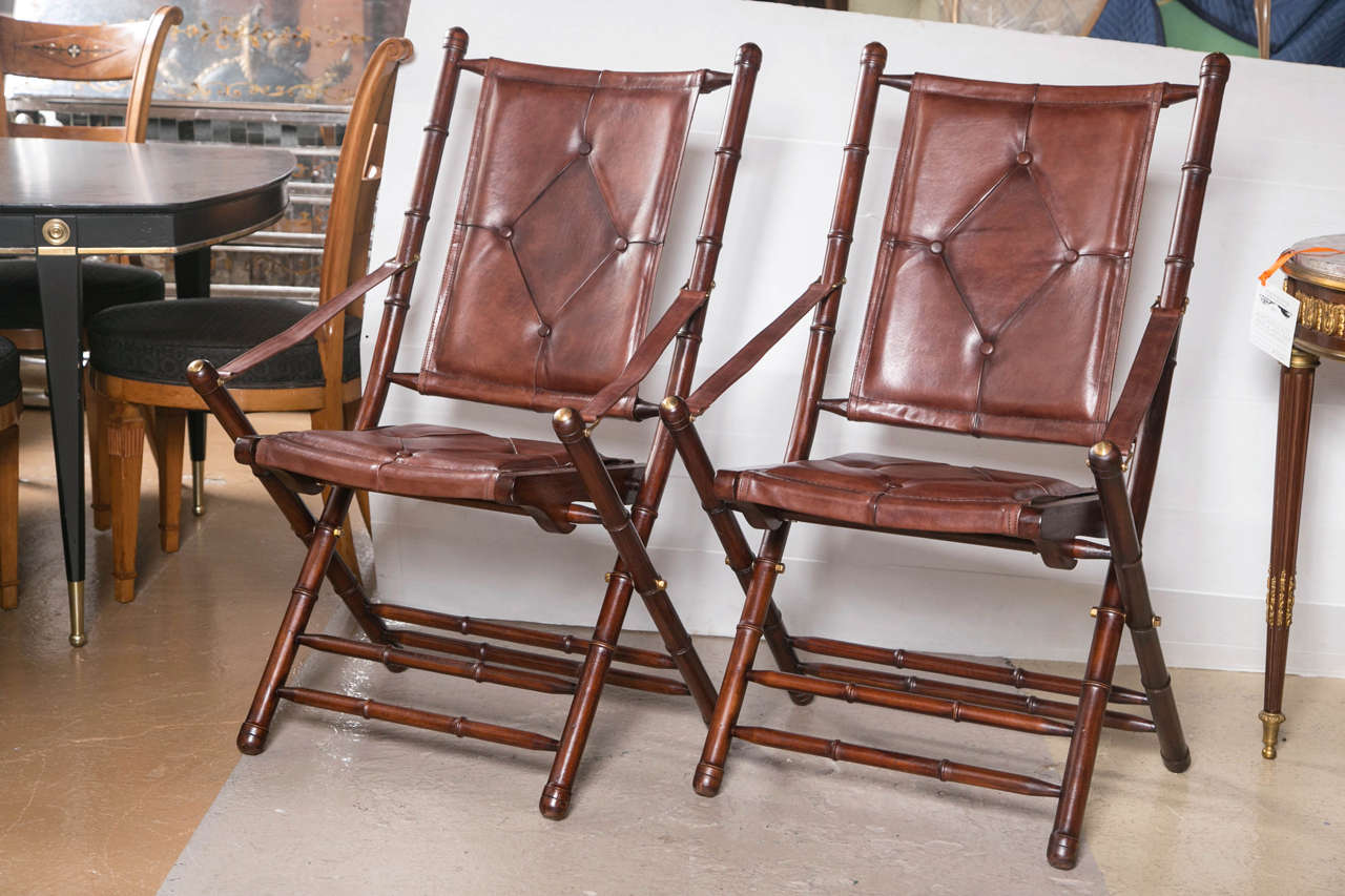 Delicieux Set Of Eighteen Bamboo Form Folding Chairs. Each In A Fine Button Tufted  Brown Slightly