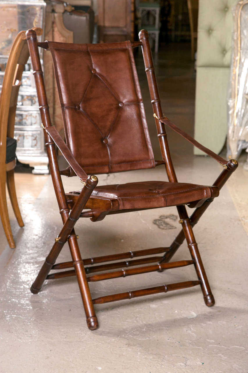 Arts and Crafts Set Eighteen Leather Bamboo Style Folding Chairs In Fine Button Tufted Leather For Sale