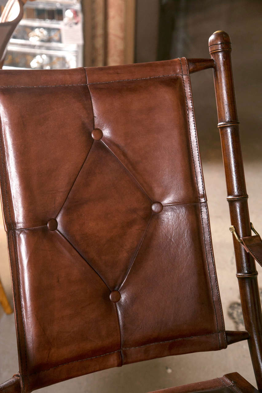 American Set Eighteen Leather Bamboo Style Folding Chairs In Fine Button Tufted Leather For Sale