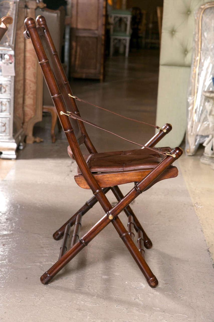Late 20th Century Set Eighteen Leather Bamboo Style Folding Chairs In Fine Button Tufted Leather For Sale