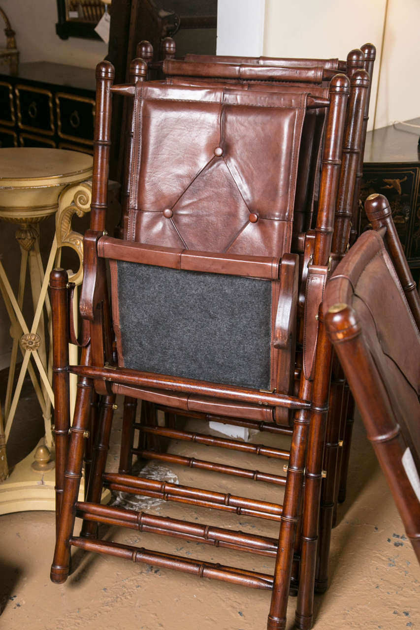 Set Eighteen Leather Bamboo Style Folding Chairs In Fine Button Tufted Leather For Sale 3