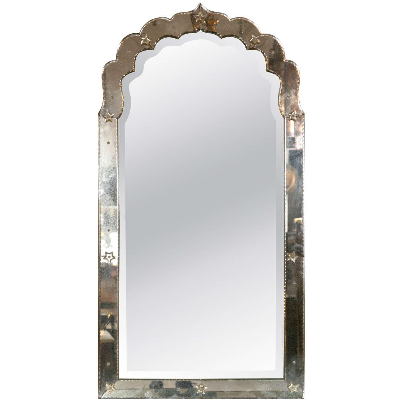 Elegant Absolutely Stunning Antiqued Hollywood Regency Venetian Doris Duke Style  Pair Of Mirrors. The Fine Beveled