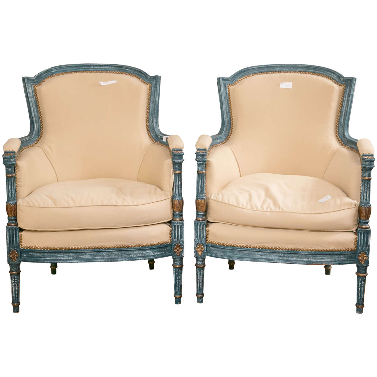 Pair of Fine Quality Louis XVI Style Bergere Chairs by Maison Jansen