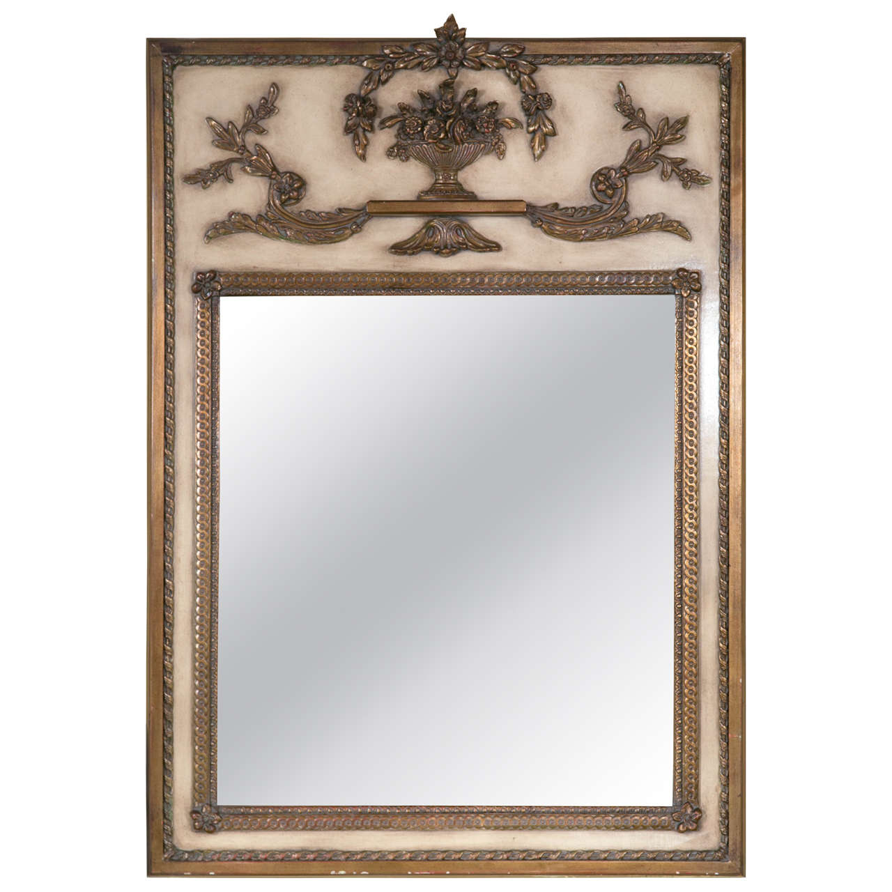 French cream paint decorated trumeau mirror for sale at for French mirror