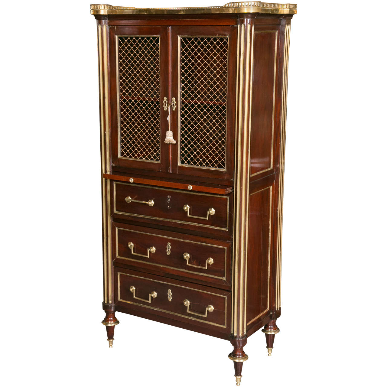 Mahogany Storage Chest Attributed to Maison Jansen With Galleried Marble Top