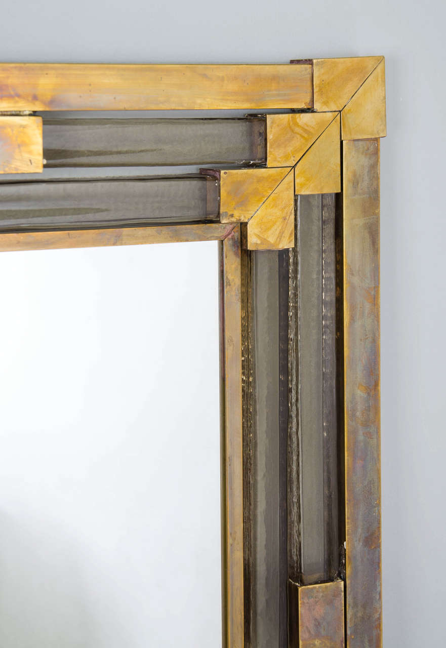1950s Italian Brass and Glass Mirror In Excellent Condition For Sale In London, GB