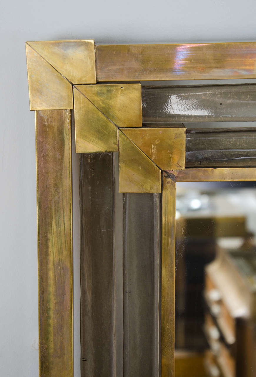 Mid-20th Century 1950s Italian Brass and Glass Mirror For Sale