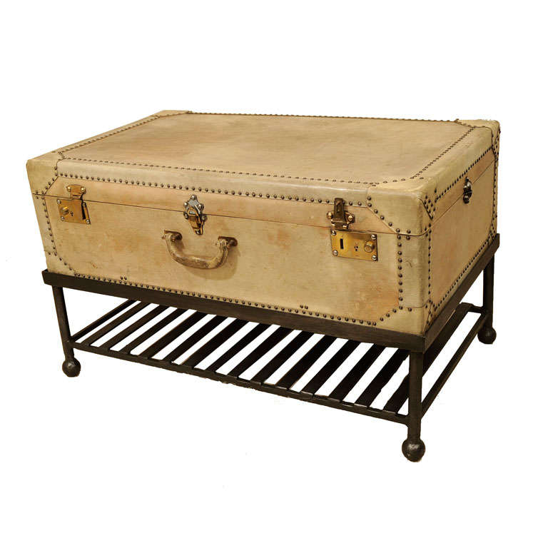 Vintage Vellum Parchment Trunk on Stand England c 1925  : x from www.1stdibs.com size 768 x 768 jpeg 49kB