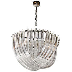 Stunning Modernist Murano Glass Ribbon Chandelier
