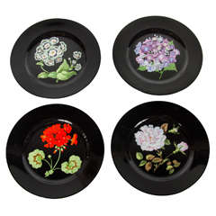 """Set of Four Plates for Tiffany & Co., """"Mrs Delany's Flowers"""" by Sybil Connolly"""