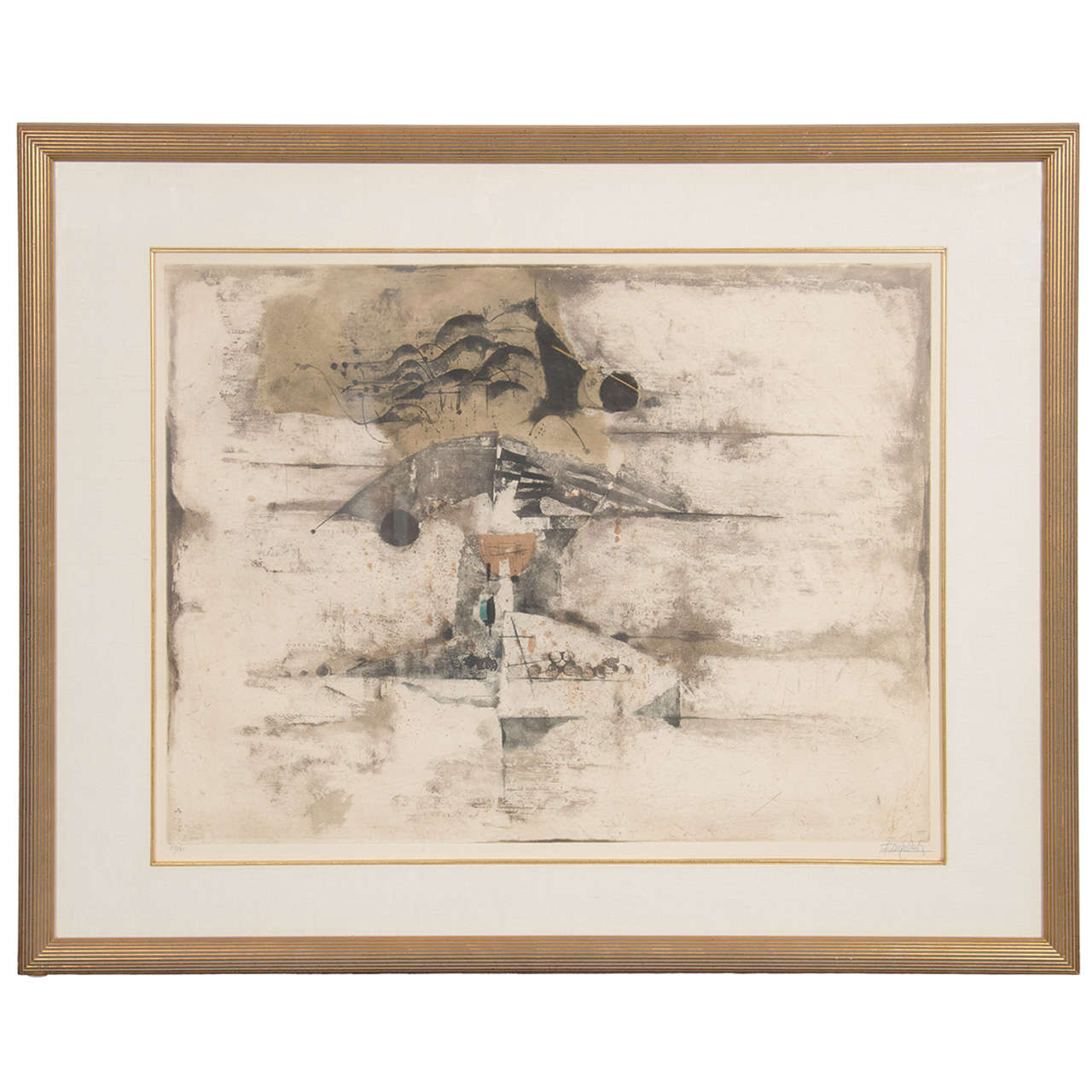 Mid Century Modernist Abstract Etching By Johnny
