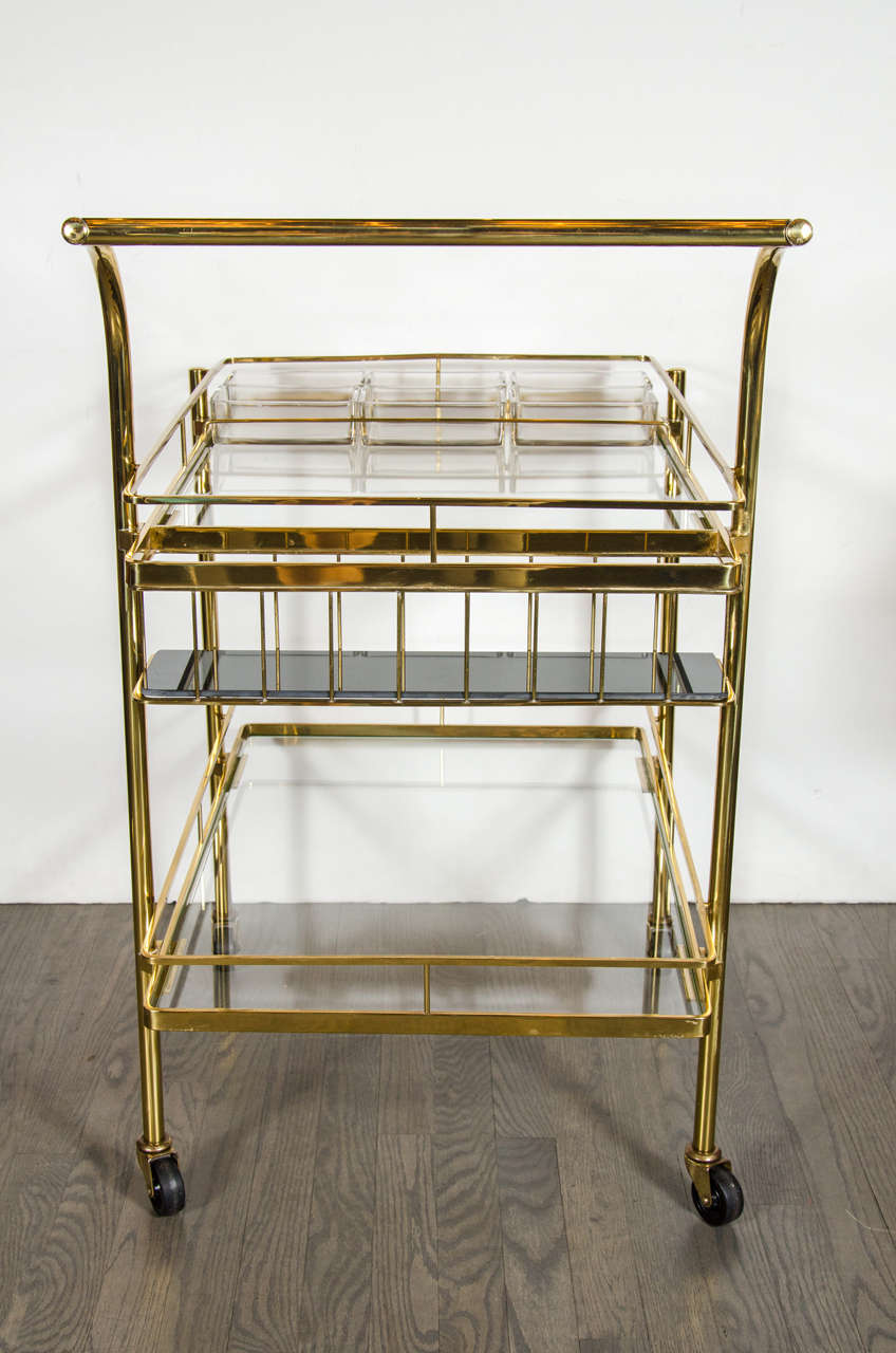 sophisticated mid century modern bar cart in brass with. Black Bedroom Furniture Sets. Home Design Ideas