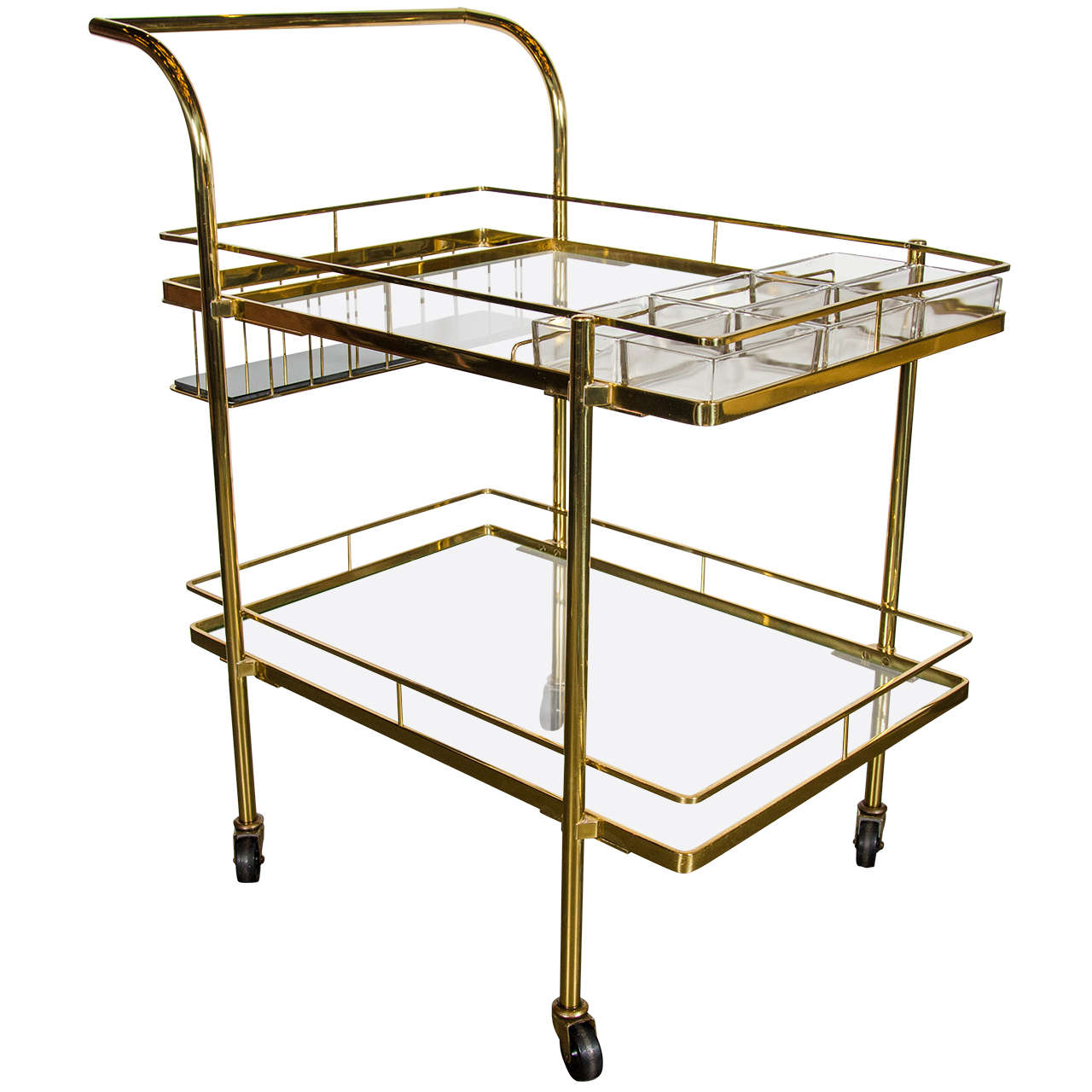Sophisticated Mid Century Modern Bar Cart In Brass With