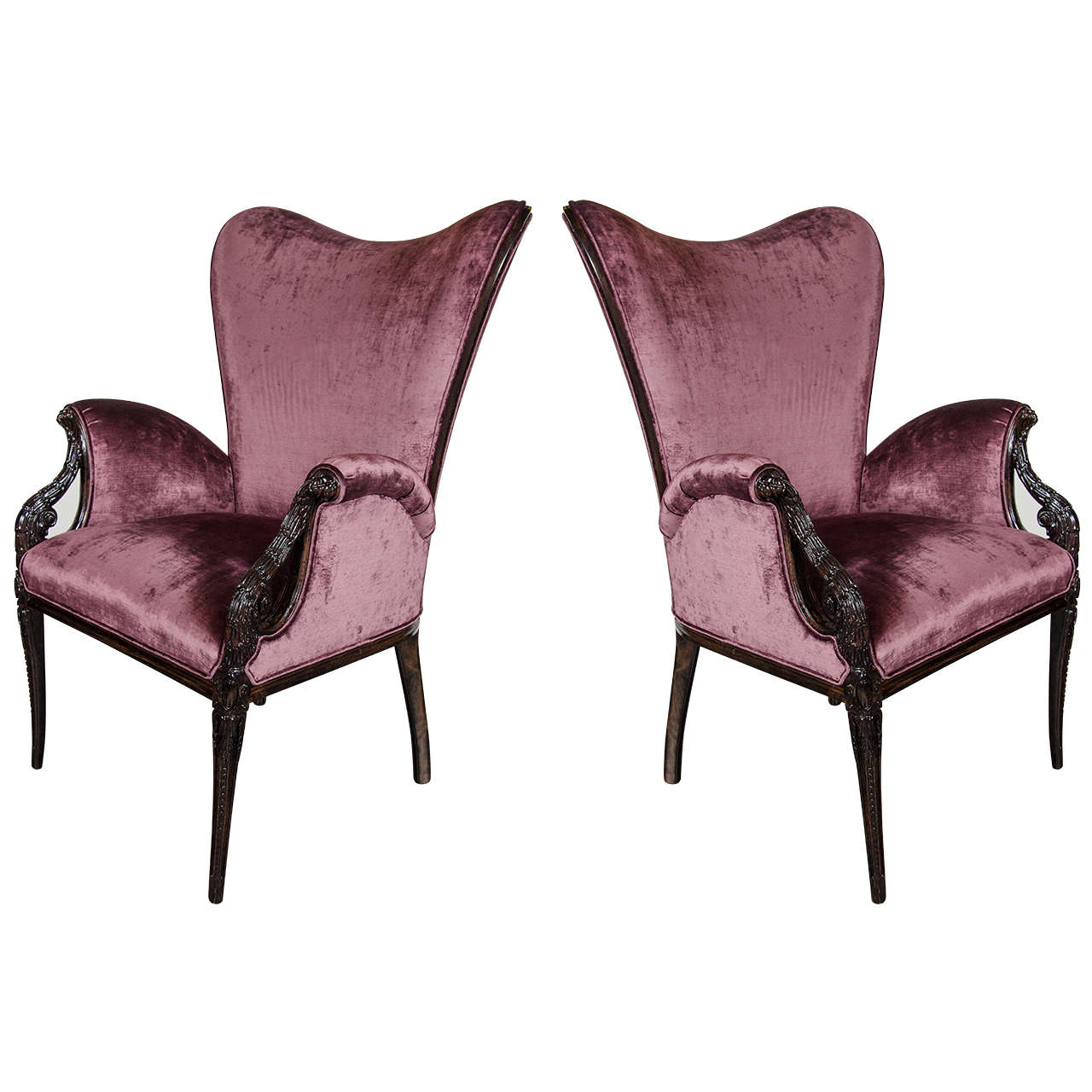 Pair of 1940s Wingback Chairs in Smoked Amethyst Velvet by Grosfeld House
