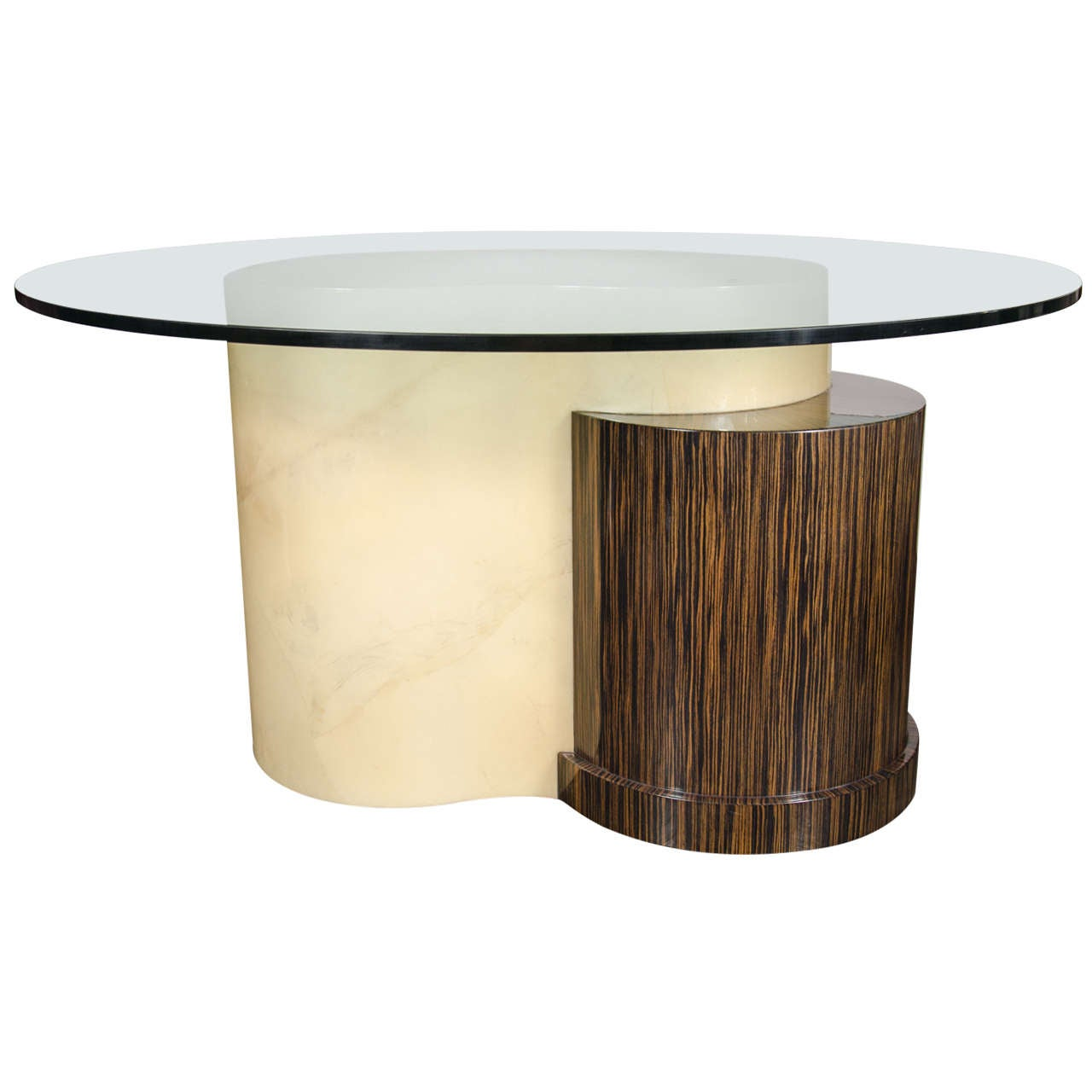 Mid-Century Modernist Lacquered Goatskin, Glass and Macassar Dining Table