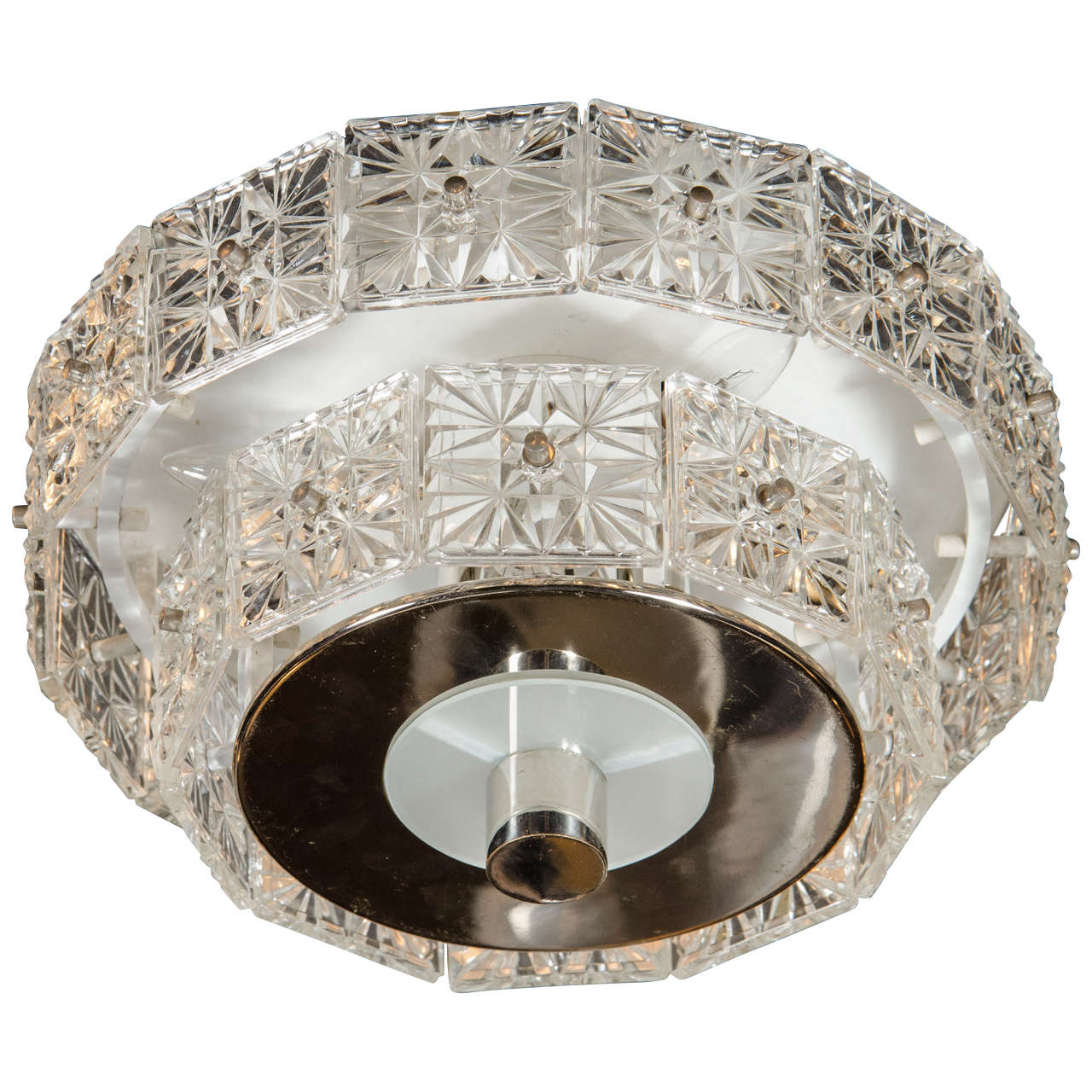 Mid-Century Modernist Two-Tier Faceted Crystal Flush Mount by Kinkeldey