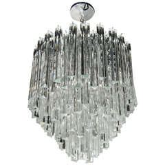 Mid-Century Modernist Cascading Camer Chandelier with Chrome Fittings