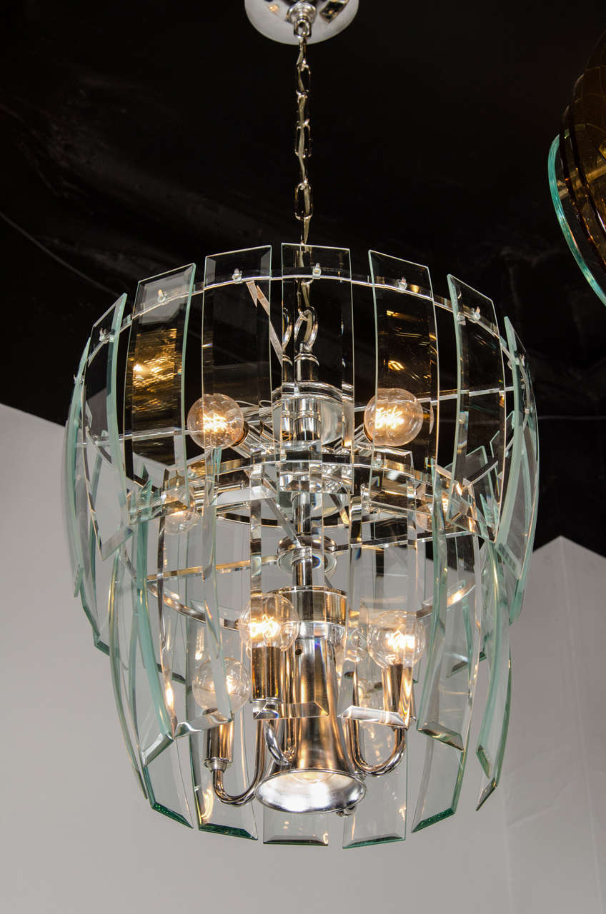 Mid Century Modernist Two Tier Beveled Glass Chandelier By