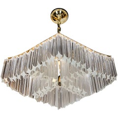 Sophisticated Pagoda Style, Camer Crystal Chandelier with Brass Fittings