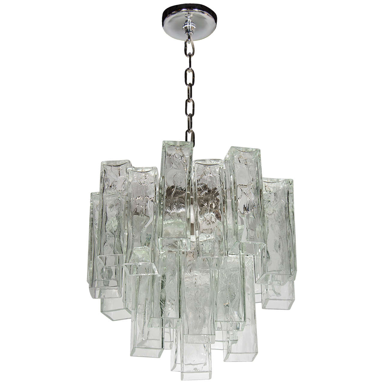 Mid century tronchi style chandelier with square tubular textured mid century tronchi style chandelier with square tubular textured murano glass for sale aloadofball Choice Image