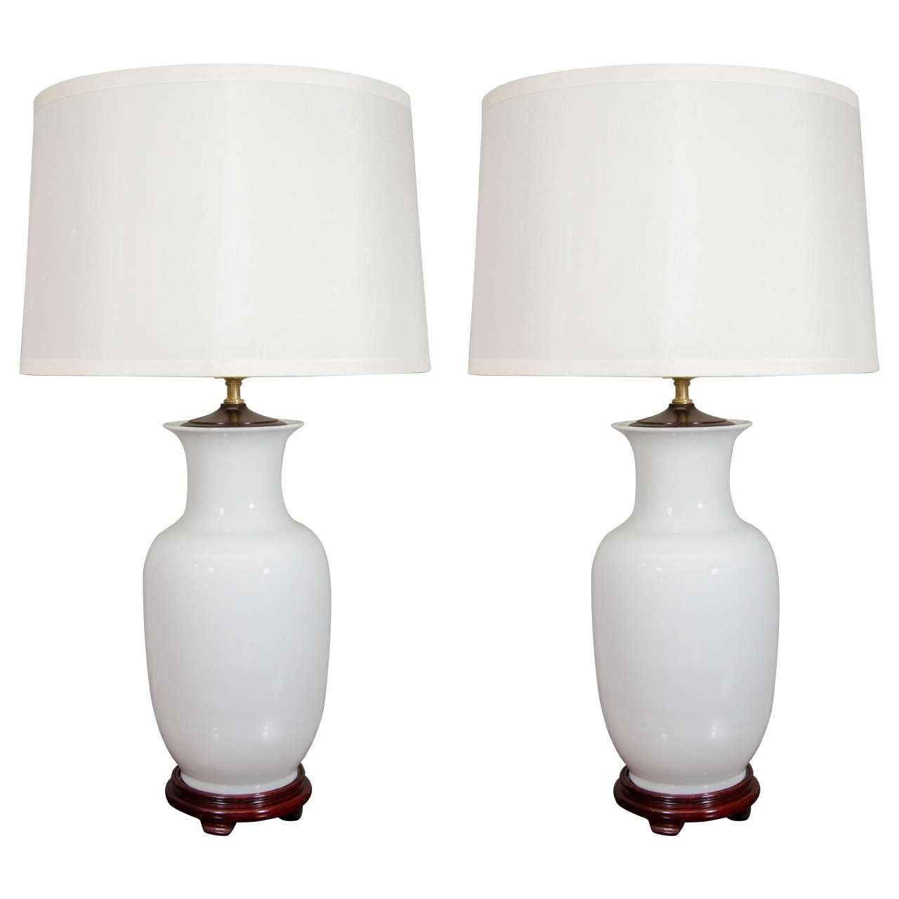 Pair of Chinese Blanc De Chine Porcelain Vases, Wired as Lamps