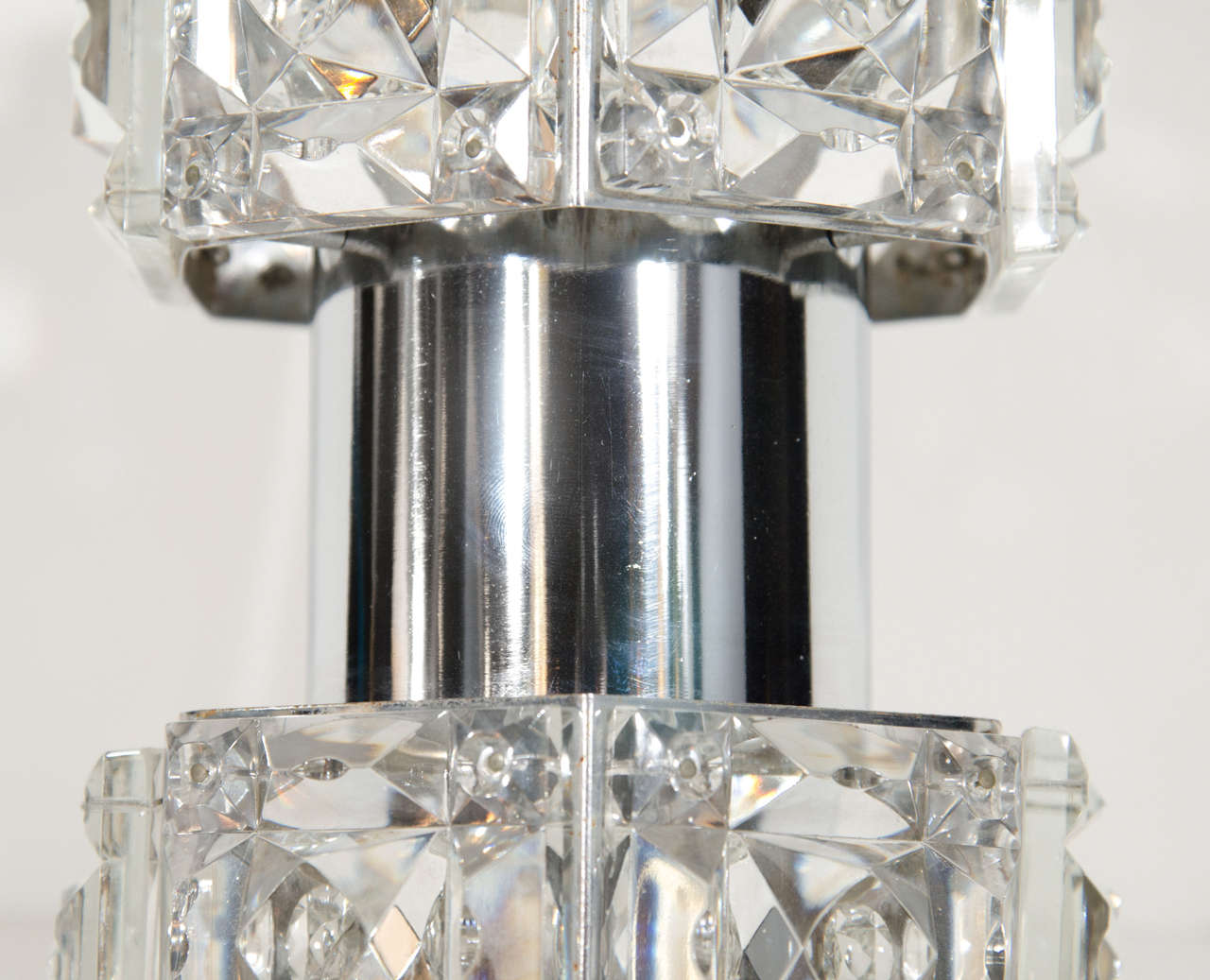 Pair of Mid-Century Faceted Crystal Sconces by Kinkeldey In Excellent Condition For Sale In Stamford, CT