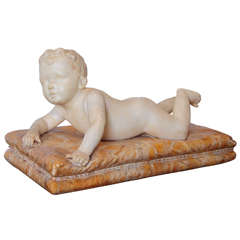 19th Century Italian Carved Carrera Marble Baby on a Sienna Marble Base