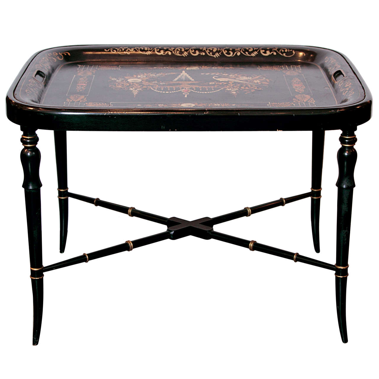19th Century Regency, Tole Painted Tray Table