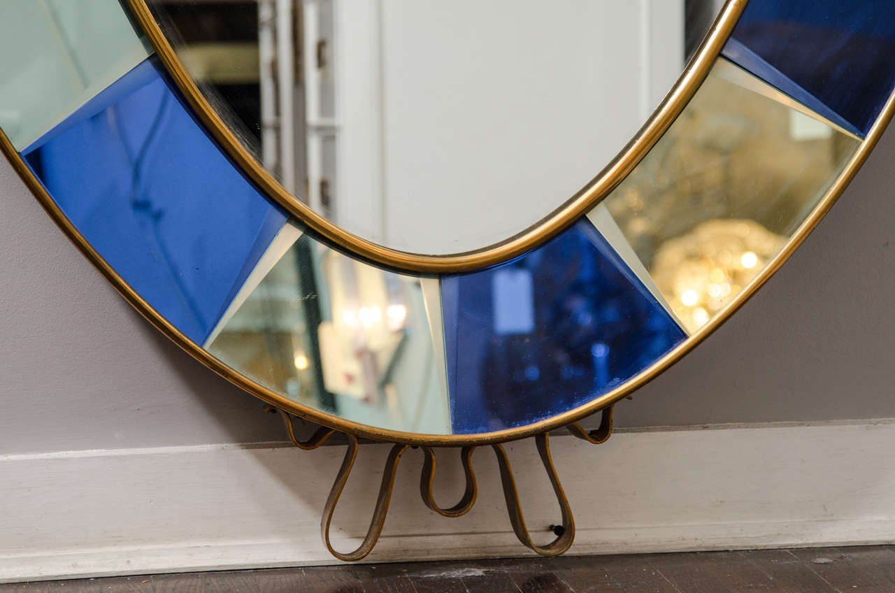 Crystal arte oval standing mirror with beveled cobalt for Standing mirror frame