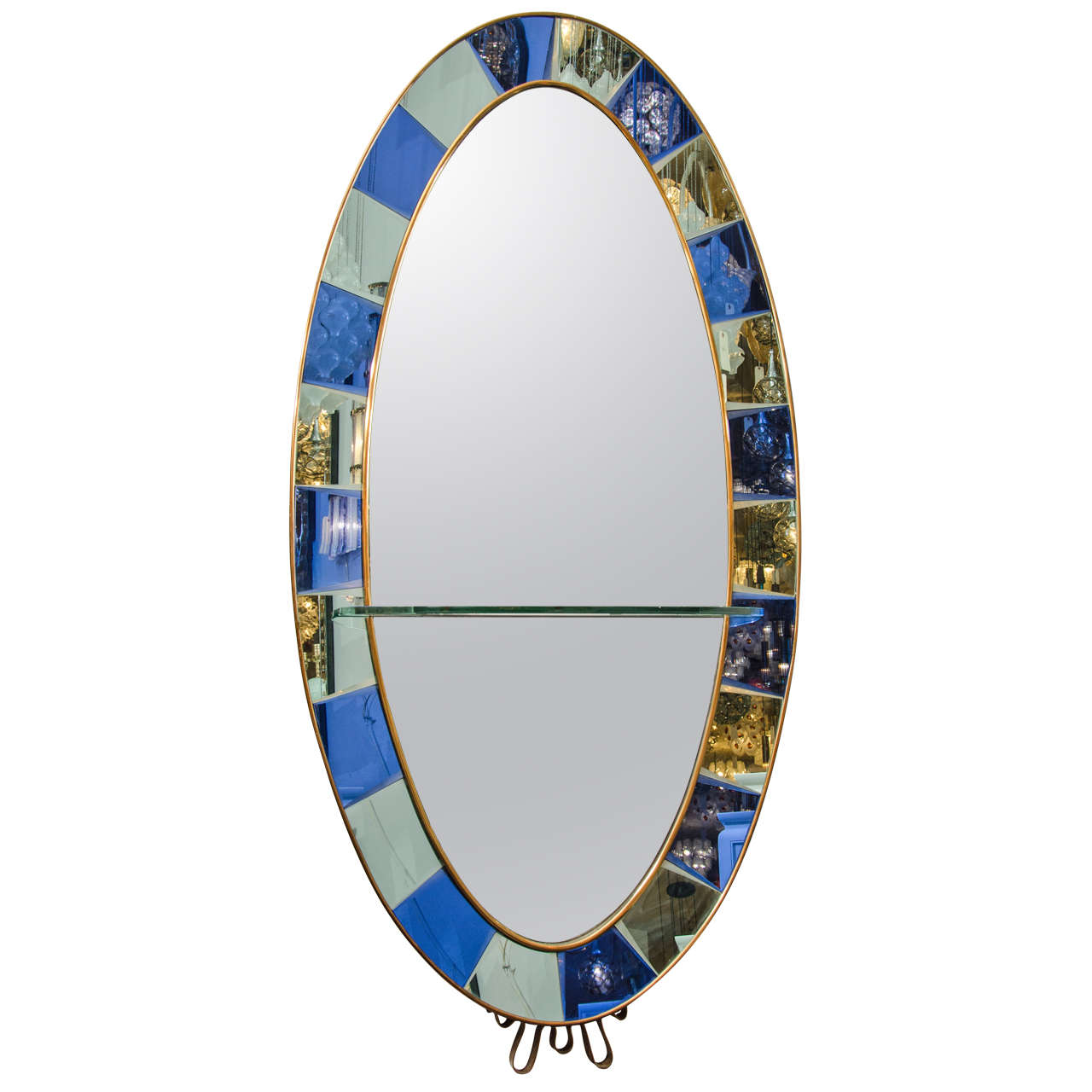 Crystal arte oval standing mirror with beveled cobalt for Standing glass mirror