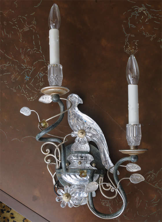 Crystal Bird Wall Sconces : Pair of Exquisite French Crystal Bird Sconces at 1stdibs