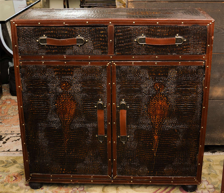 This is a very nice vintage fow crocodile skin cupboard with leather handles,to the base there are two doors to the top there are two drawers.