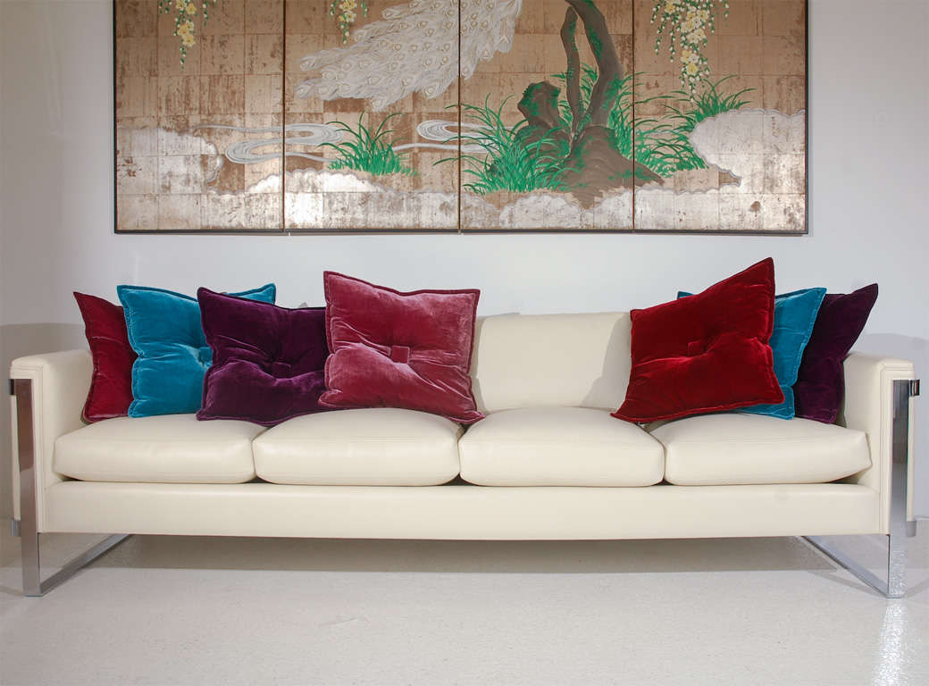 Sleek Polished Stainless Steel And Leather Sofa