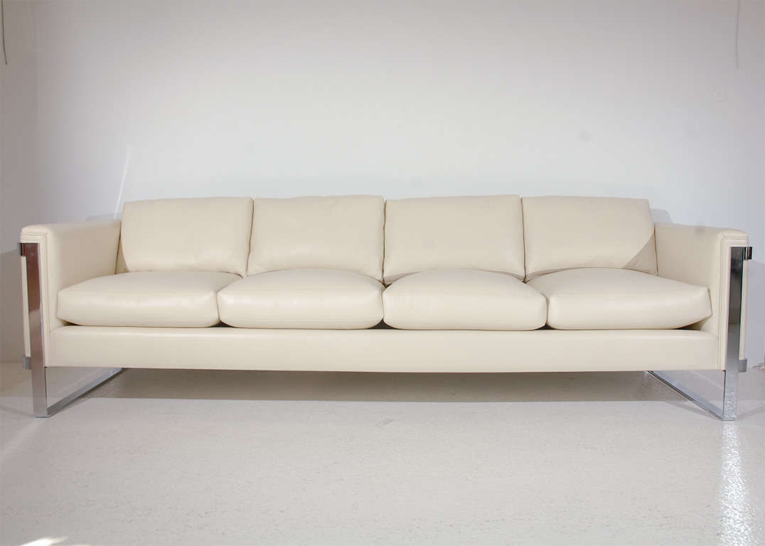 Sleek Polished Stainless Steel And Leather Sofa For 1