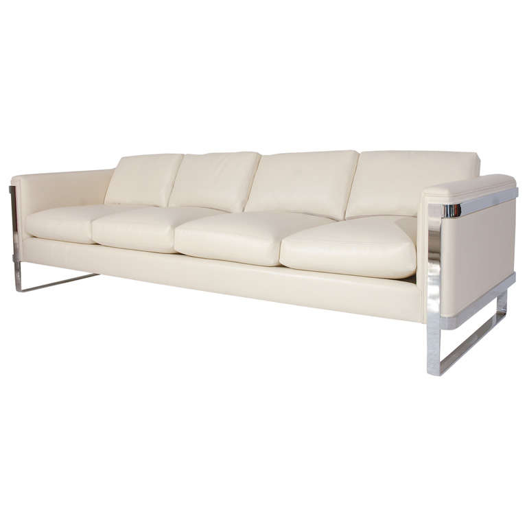 Sleek Polished Stainless Steel And Leather Sofa At 1stdibs