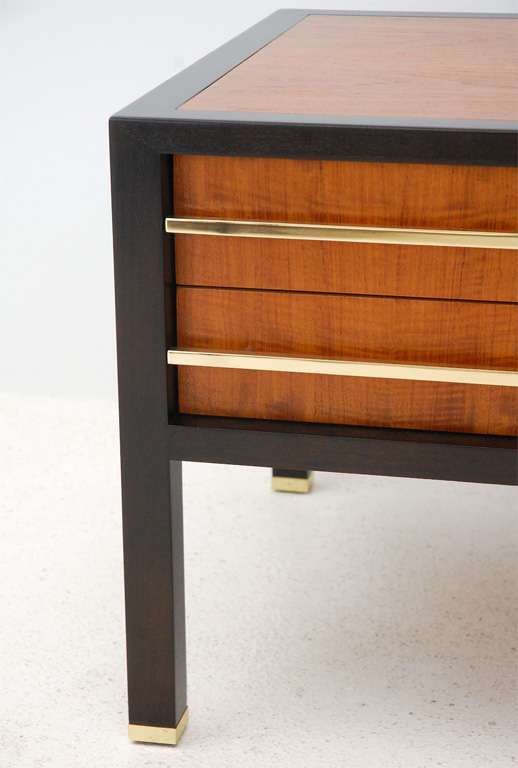 Ebonized Two-Drawer Side Table by Michael Taylor For Sale
