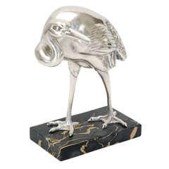 Silver Plated Art Deco Egret by Irenee Rochard