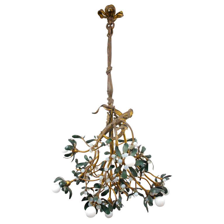 Art nouveau bronze mistletoe chandelier at 1stdibs for Chandelier art nouveau